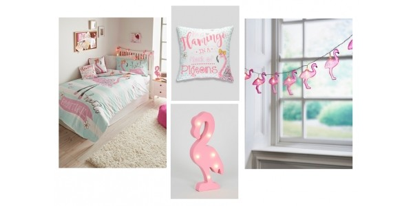 Kids Flamingo Print Reversible Duvet Set £12 & Other Flamingo Accessories @ Matalan