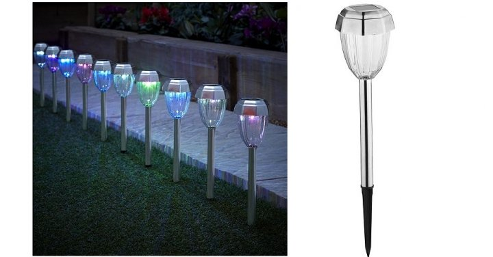 10 colour changing plastic stainless steel solar stake. Black Bedroom Furniture Sets. Home Design Ideas