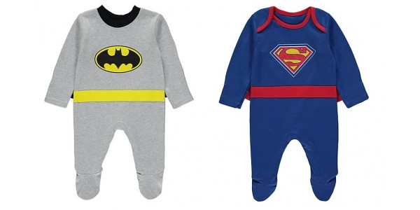 Batman / Superman Baby All-In-One With Cape Now £2 @ Asda George