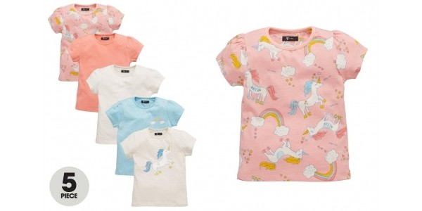 Kids Unicorn T-shirts 5 Pack £13 - £15 @ Very