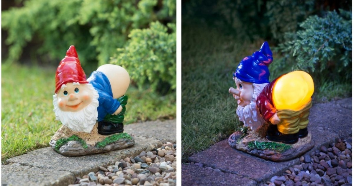 Gnome In Garden: Mooning Gnome With Solar Powered Light £3.99 @ B&M
