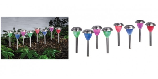 HOME Stainless Steel Solar Colour Changing Lights - Set of 8 £11.99 @ Argos