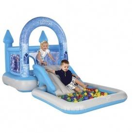 Airprotech junior disney frozen bouncy castle house ramp for Garden pool tesco