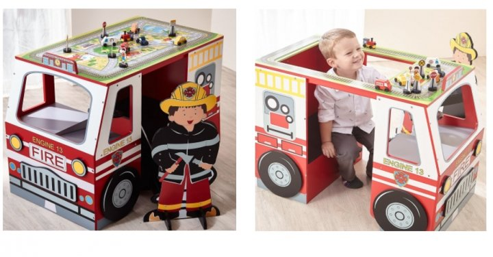 Teamson Kids Wooden Fire Engine Desk Table And Chair 163 54
