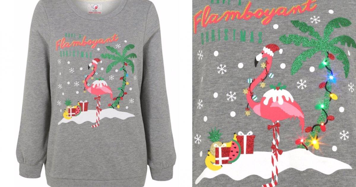Women's Light Up Flamingo Christmas Jumper £15 @ Asda George