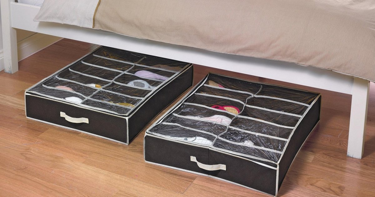 2 Underbed Shoe Storage Boxes With Lid £6.49 (was £16.99