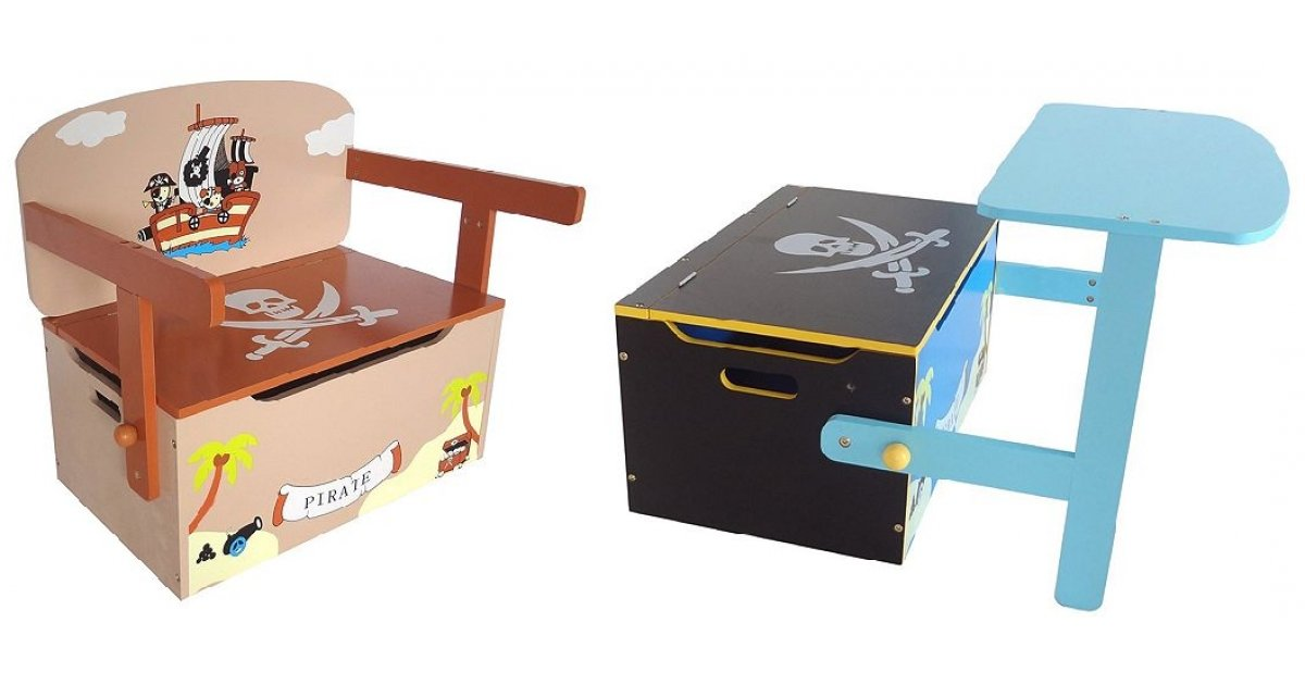 kiddi style childrens pirate themed convertible toy box. Black Bedroom Furniture Sets. Home Design Ideas