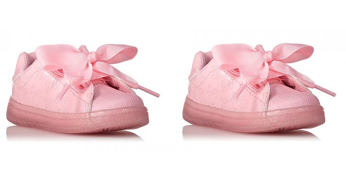 disney minnie mouse pink lace up bow trainers 12 asda. Black Bedroom Furniture Sets. Home Design Ideas