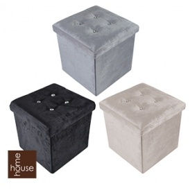 Small or Large Velvet Diamante Folding Ottomans From £8.99 @ Home Bargains  sc 1 st  Playpennies & Small or Large Velvet Diamante Folding Ottomans From £8.99 @ Home ...