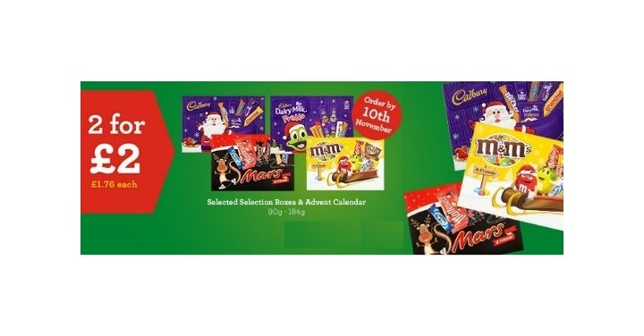 2 for £2 On Selected Advent Calendars & Selection Boxes ...