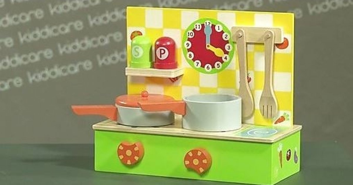 Wooden table top kitchen kiddicare for Toy kitchen table