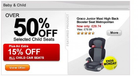 Halfords Carseat Sale