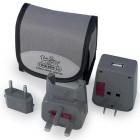 USB World Travel Adapter Grey