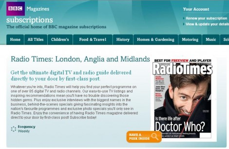 Radio Times Magazine Subscription Offers