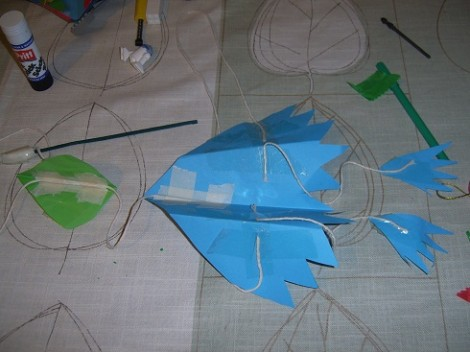 Taping the bird together