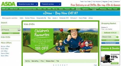 Asda Entertainment Kids DVDs