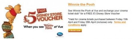 Winnie the Pooh 5 free disney store voucher
