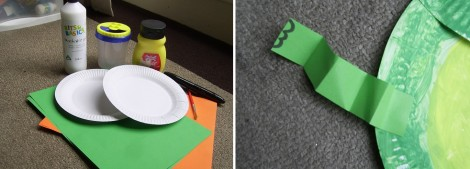 Paper Plate Frog materials and side