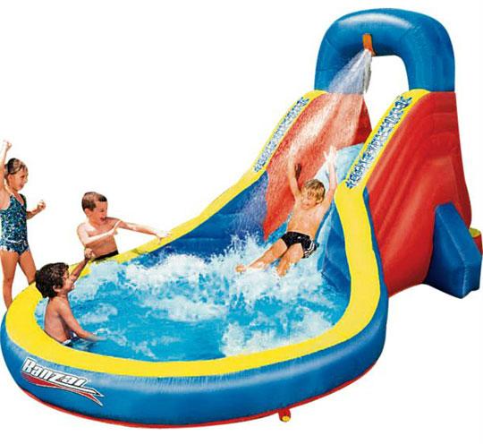 Splash blast inflatable lagoon slide and paddling pool 99 for Garden pool argos