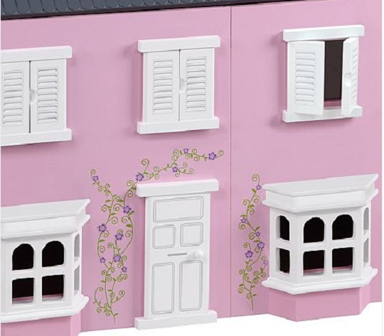 Traditional Pink Wooden Dolls House 35 Asda