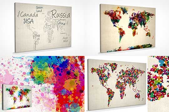 Art map of the world printed on canvas from 30 groupon first thing this morning i told you about a map of the world for kids if you are a world map fan but would like one with an arty twist to it gumiabroncs Images