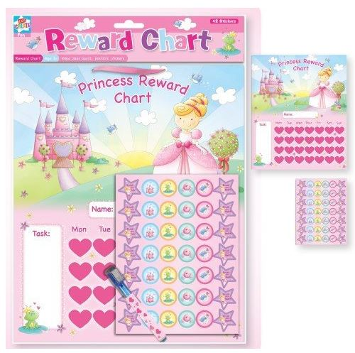 NEW CHILDRENS PRINCESS REWARD CHART with WIPE CLEAN BOARD, PEN & STICKERS