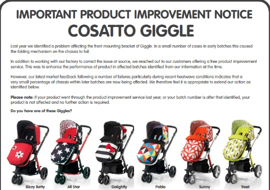 Cosatto Giggle notice