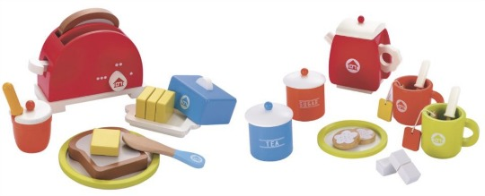 elc wooden toaster and tea set