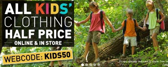 half price kids clothing at Millets