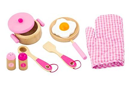 Viga Pink Wooden Kitchen Utensil Set