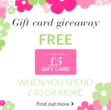 Debenhams free £5 gift card