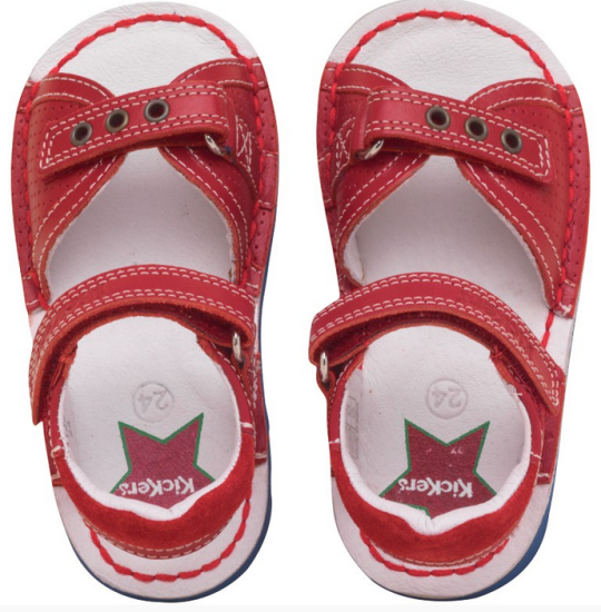 Kickers Infant Jess Red Leather Sandals