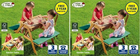 garden bench and sandpit aldi pm