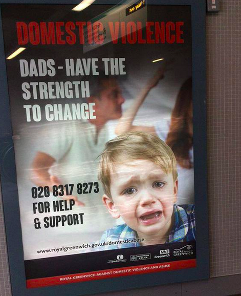 Domestic violence poster provokes outrage among dads