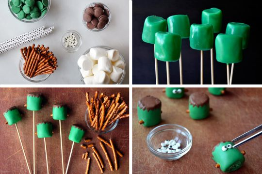 Frankenstein Marshmallow Pops pm