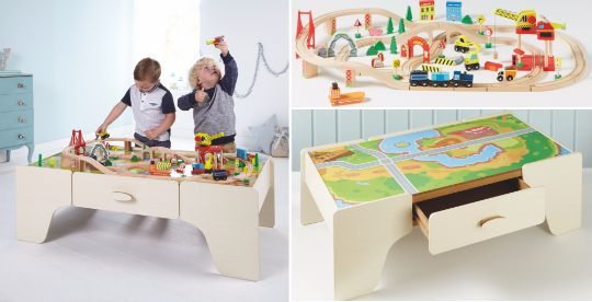 wooden train set and table asda pm