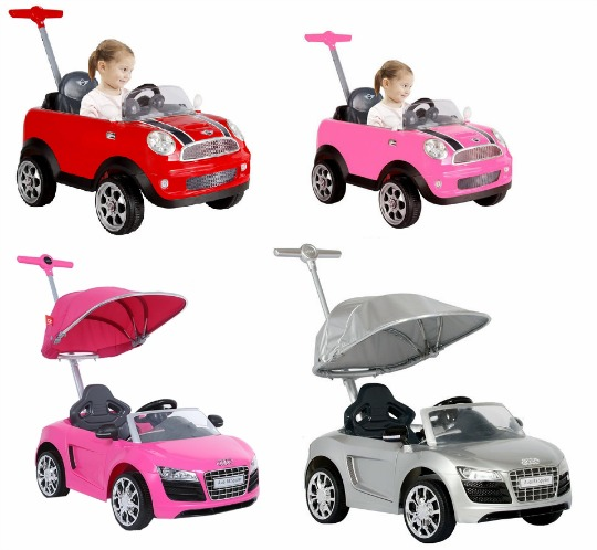 reduced mini cooper & audi push buggy ride-ons: from £79.99 @ toys r us