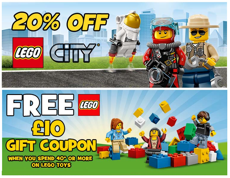 20% Off ALL Lego City Plus A FREE £10 Gift Coupon When You Spend £40 ...