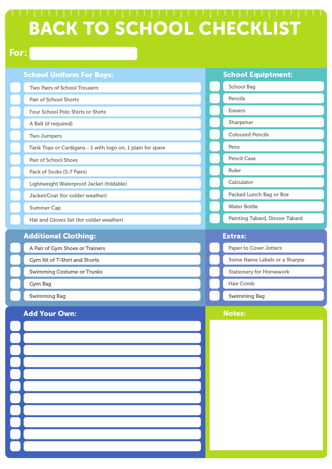 Back To School Everything You Need Checklist