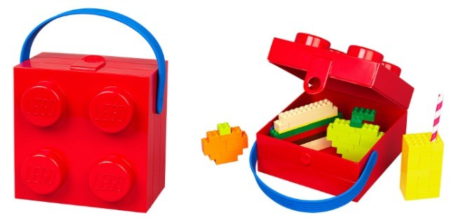 Lego Storage Lunch Box 4 Knobs With Handle Blue Red Ebay