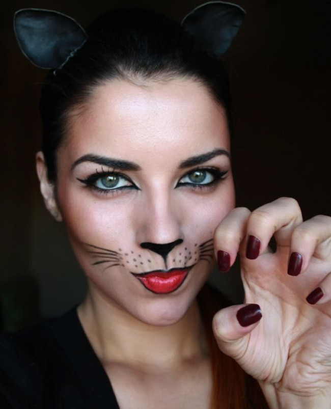 Cat Grab A Black Gel Liner Or Face Paint And Fine Brush On Triangle The Tip