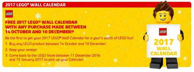 FREE Lego 2017 Wall Calendar With Any Purchase In The Lego Shop
