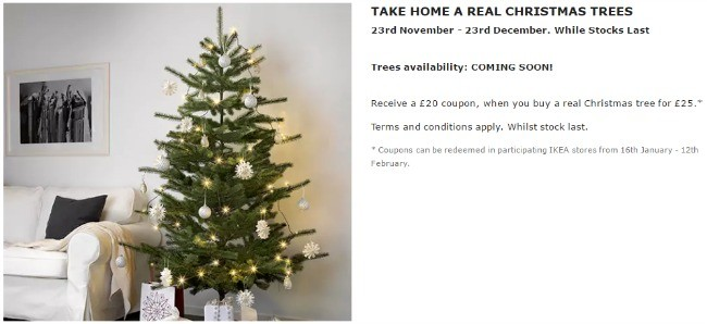 buy a 25 christmas tree at ikea and get a 20 ikea voucher. Black Bedroom Furniture Sets. Home Design Ideas