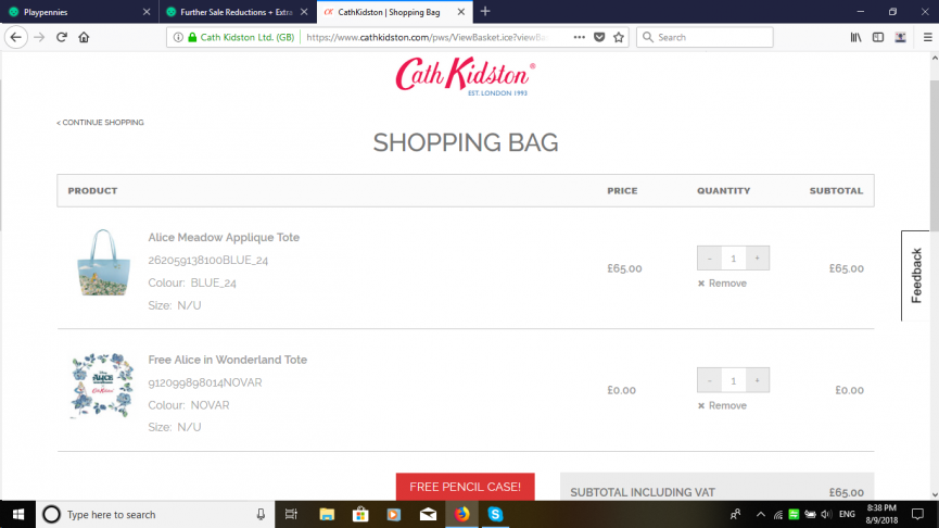 FREE Limited Edition Alice In Wonderland Tote When You Spend £50 @ Cath Kidston