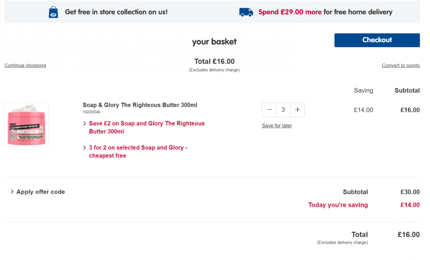 Offer Stack: Soap & Glory The Righteous Butter 300ml 3 For £16 (was £10 Each) @ Boots