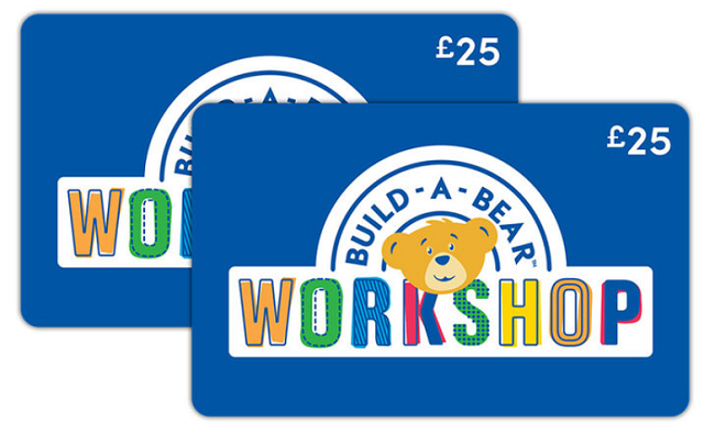 two Build-a-bear £25 gift cards
