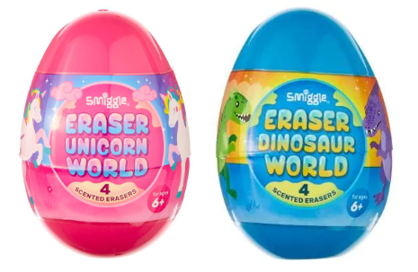 Smiggle Eraser Collection Surprise Eggs, dinosaur and unicorn