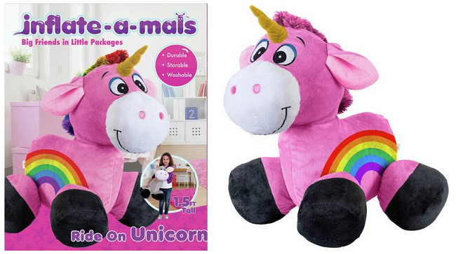 Inflate-A-Mals Inflatable Plush Unicorn Ride-On