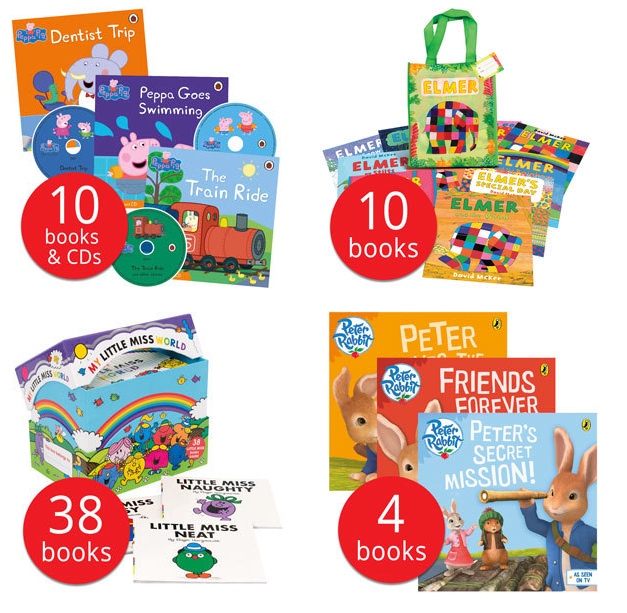 Peppa Pig, Peter Rabbit, Elmer and Little Miss book collections