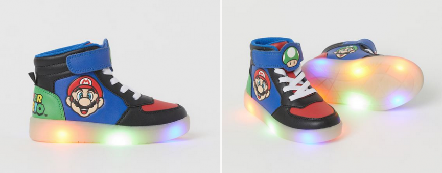 Kids Mario Flashing Light-Up Trainers